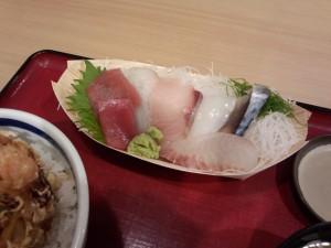 海老かき揚げとお刺身定食