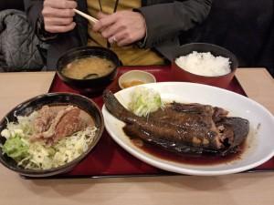黒ソイ煮付と唐揚定食