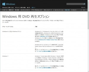 Windows Media Player DVD 再生オプション