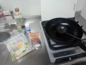 野菜炒め + コンビーフハッシュ (1)