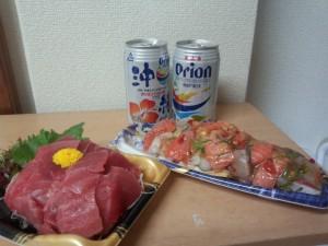 オリオンドラフトビール + お刺身 (イトーヨーカドー)