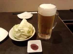 生ビール + お通し