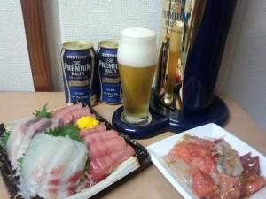 香るプレミアム + お刺身 (本マグロ, 真鯛, かんぱち, サーモン)