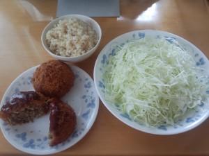 玄米 + ゲンコツメンチ + キャベツ千切り