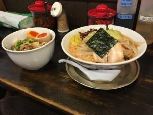豚骨野菜 辛味噌ラーメン + まかない丼
